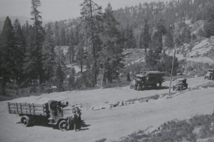 Edison's fleet of heavy trucks on Kaiser Pass road in the 1920's